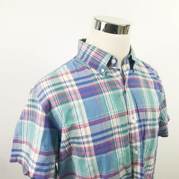 J Crew Mens Large Short Sleeve Button Down Shirt
